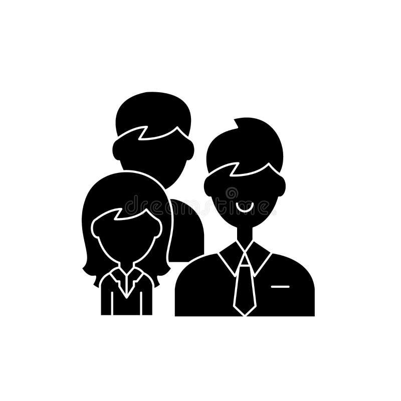 Symbol för svart för gruppledarskap, vektortecken på isolerad bakgrund Symbol för begrepp för gruppledarskap, illustration royaltyfri illustrationer