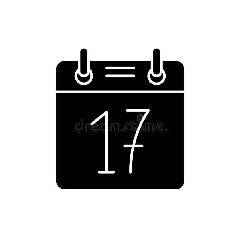 Symbol för svart för kalenderdatum, vektortecken på isolerad bakgrund Symbol för begrepp för kalenderdatum, illustration royaltyfri illustrationer