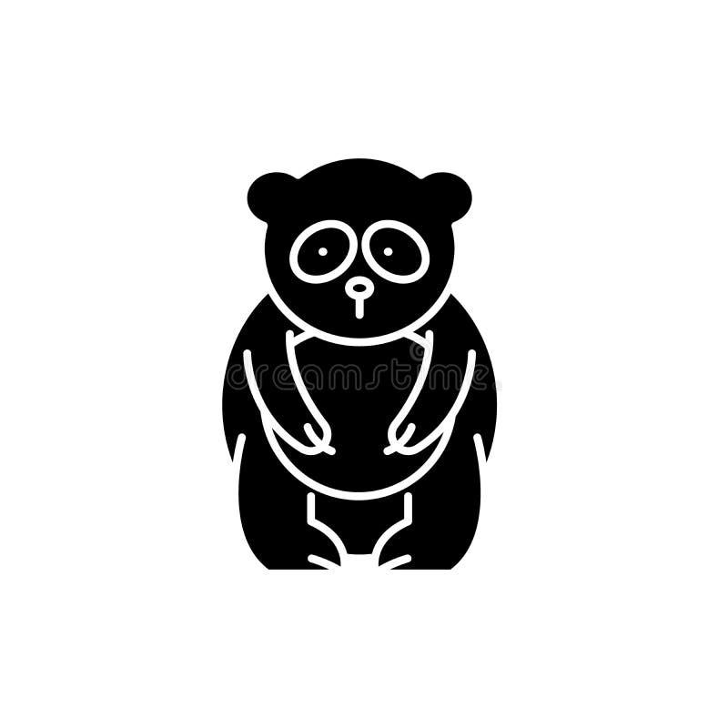 Symbol för svart för pandabjörn, vektortecken på isolerad bakgrund Symbol för begrepp för pandabjörn, illustration stock illustrationer