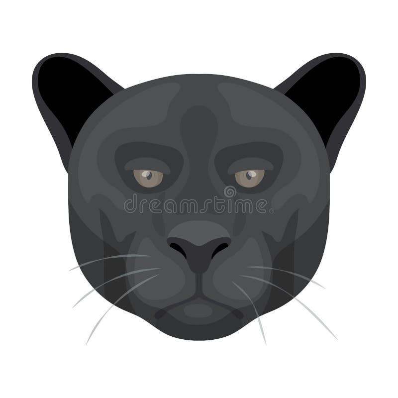 Symbol för svart panter i tecknad filmstil på vit bakgrund Realistisk illustration för vektor för djursymbolmateriel stock illustrationer