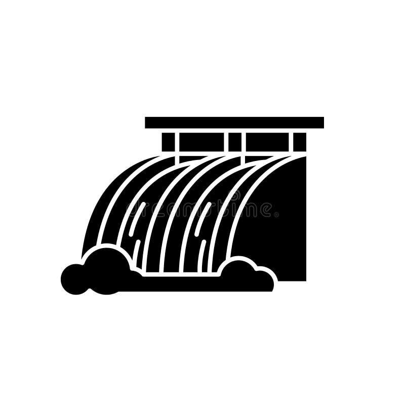 Symbol för svart för vattenkraftstation, vektortecken på isolerad bakgrund Symbol för begrepp för vattenkraftstation stock illustrationer
