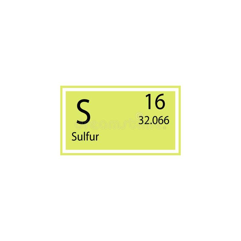Symbol för svavel för beståndsdel för periodisk tabell Beståndsdel av den kemiska teckensymbolen Högvärdig kvalitets- symbol för  stock illustrationer