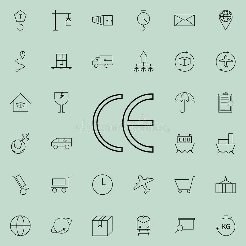 symbol för symbolCEfläck Universell uppsättning för logistiksymboler för rengöringsduk och mobil royaltyfri illustrationer
