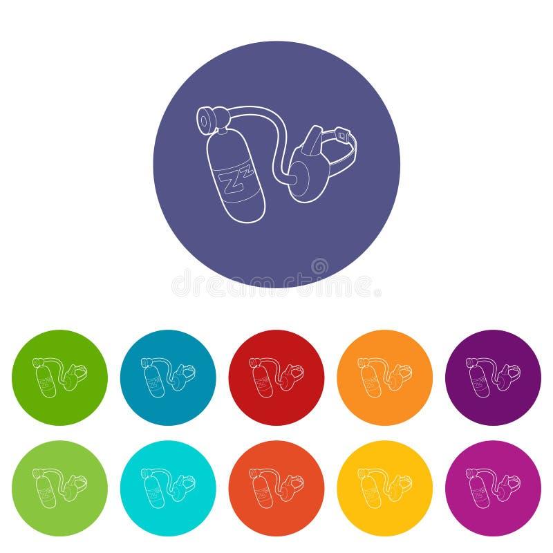 Symbol för syremaskering, översiktsstil stock illustrationer