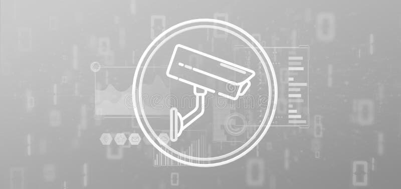 Symbol för system för säkerhetskamera och statistikdata - tolkning 3d stock illustrationer