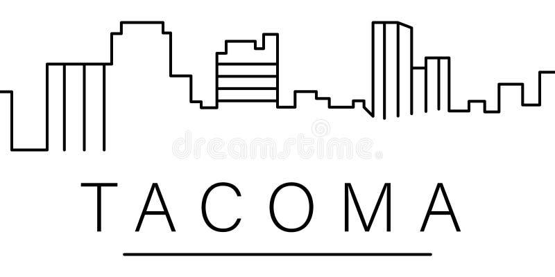Symbol för Tacoma stadsöversikt beståndsdelar av cityscapesillustrationlinjen symbol tecknet symboler kan användas för rengörings vektor illustrationer