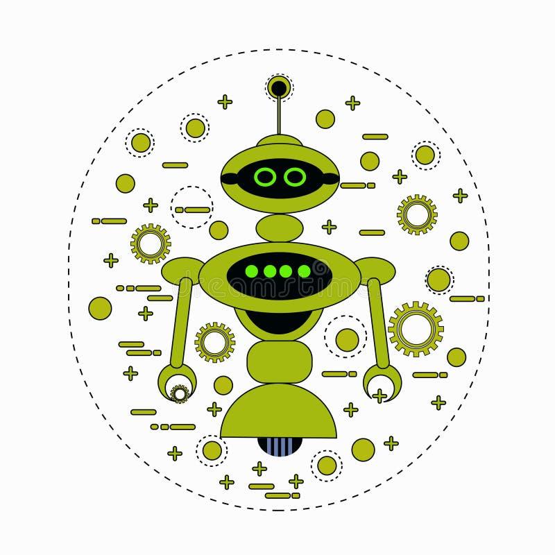 Symbol för tappning för tecken för gullig robottecknad film Robotic stock illustrationer