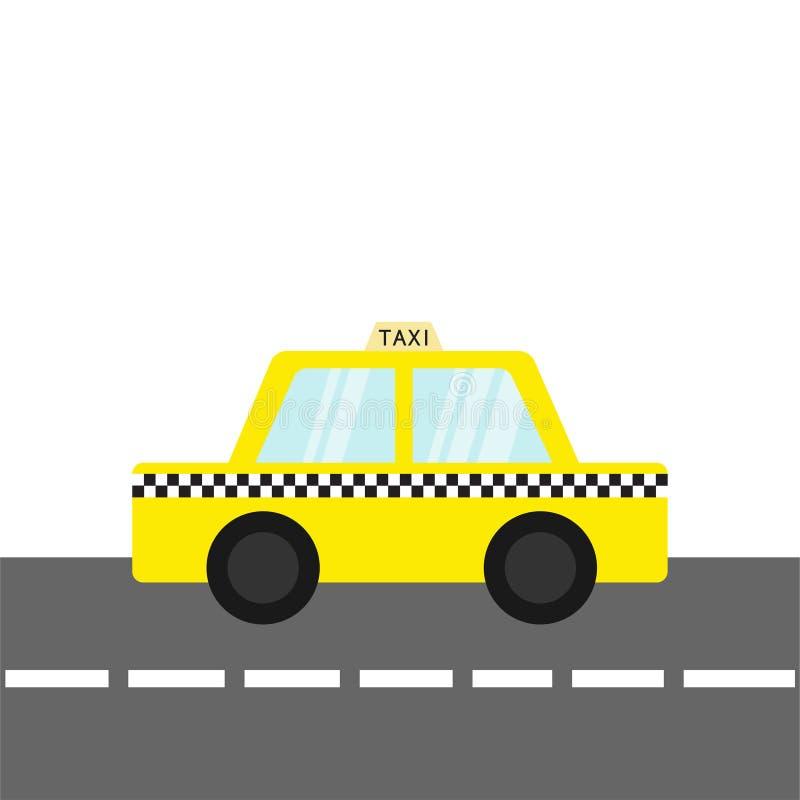 Symbol för taxibiltaxi på vägen Tecknad filmtrans.samling Gul taxi Kontrollörlinje, ljust tecken New York symbol isola vektor illustrationer