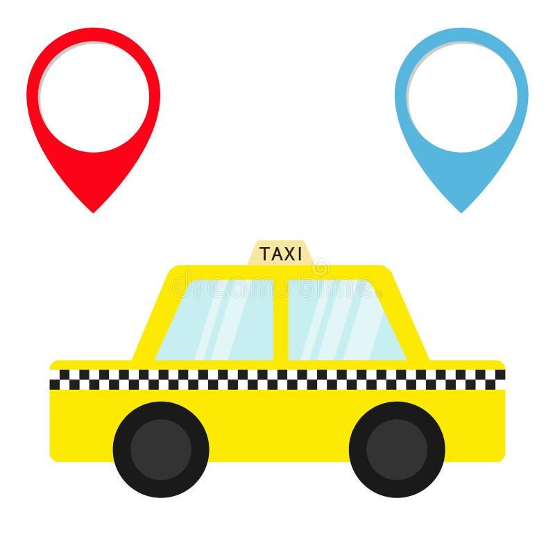 Symbol för taxibiltaxi Uppsättning för markör för navigering för Placemark översiktspekare Tecknad filmtrans.samling Gul taxi Kon vektor illustrationer
