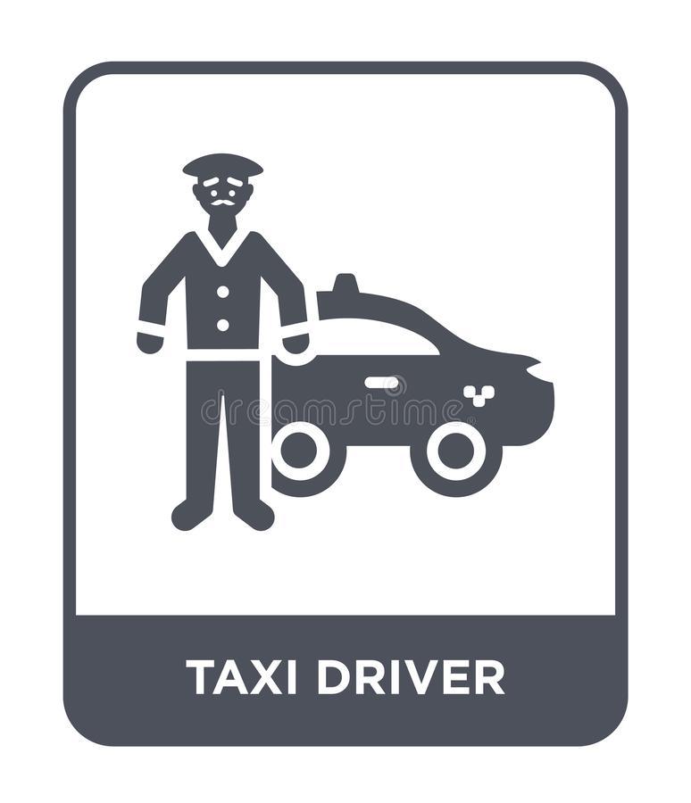 symbol för taxichaufför i moderiktig designstil Symbol för taxichaufför som isoleras på vit bakgrund modern symbol för vektor för stock illustrationer