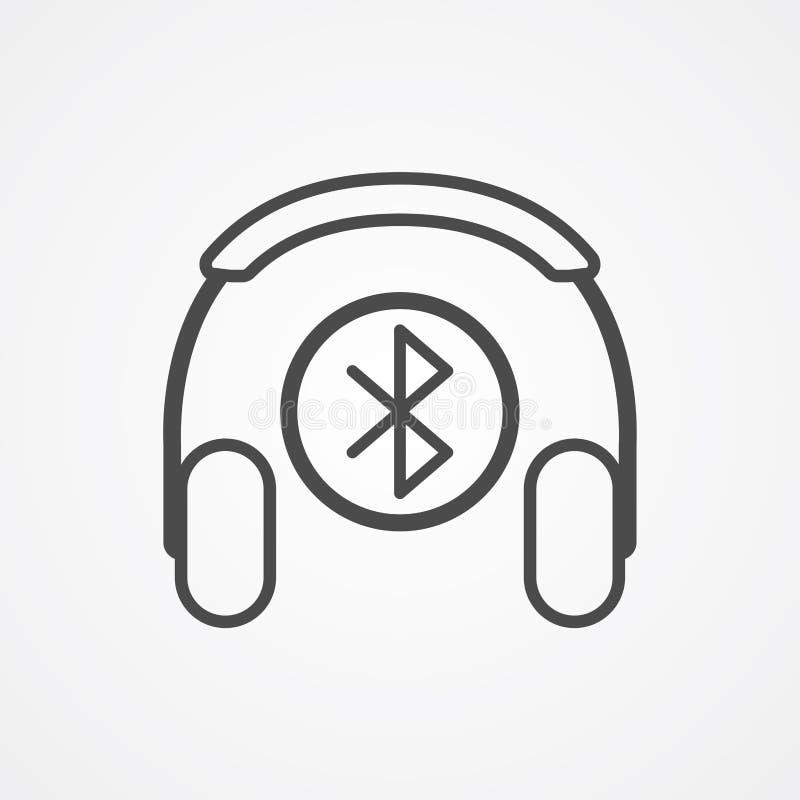 Symbol för tecken för symbol för Bluetooth headphonevektor vektor illustrationer