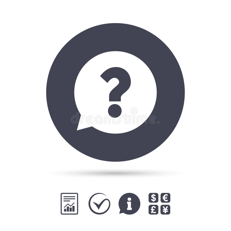 Symbol för tecken för frågefläck Hjälpsymbol royaltyfri illustrationer