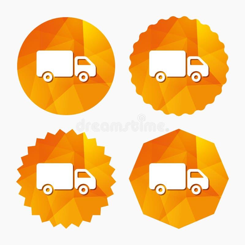 Symbol för tecken för leveranslastbil Last skåpbil symbol vektor illustrationer