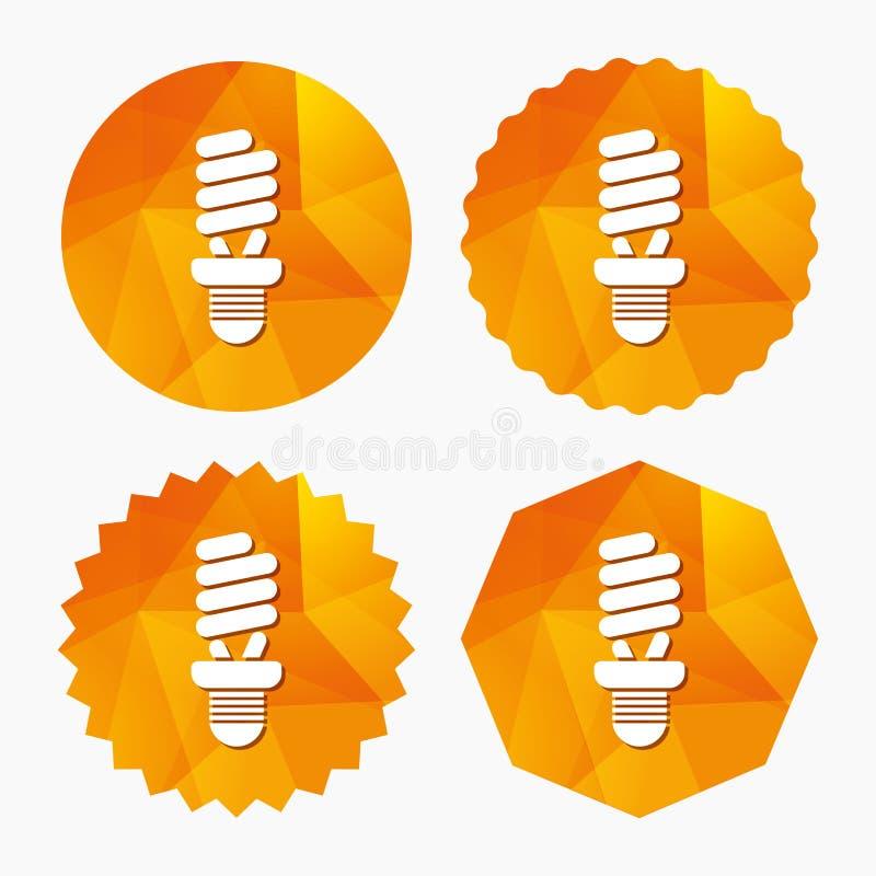 Symbol för tecken för lysrörkula slappt trevligt sparande för energiillustration royaltyfri illustrationer