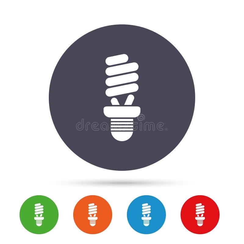Symbol för tecken för lysrörkula slappt trevligt sparande för energiillustration stock illustrationer