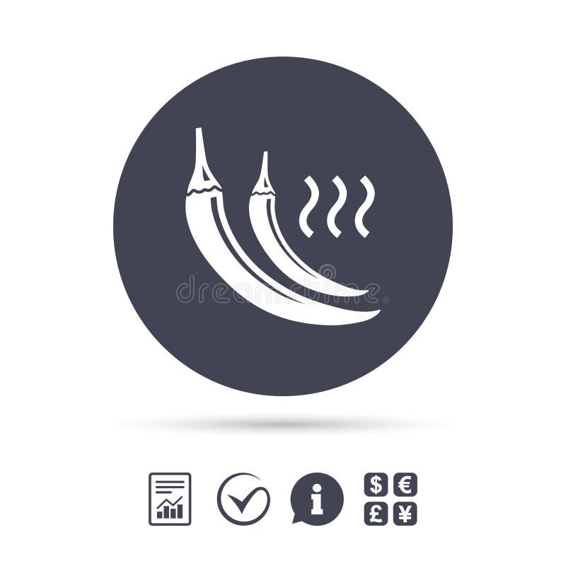Symbol för tecken för peppar för varm chili Kryddigt matsymbol royaltyfri illustrationer