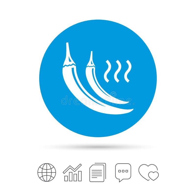 Symbol för tecken för peppar för varm chili Kryddigt matsymbol vektor illustrationer