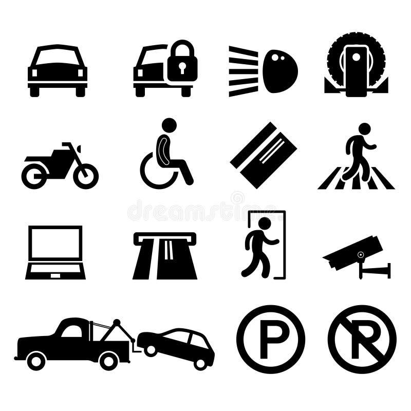 symbol för tecken för pictogram för parkering för park för områdesbilsymbol stock illustrationer