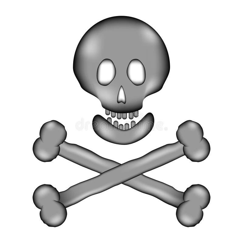 Symbol för tecken för skalle- och benfaratecken vektor illustrationer