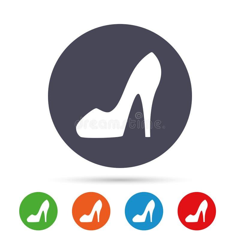 Symbol för tecken för sko för kvinna` s Sko för höga häl vektor illustrationer