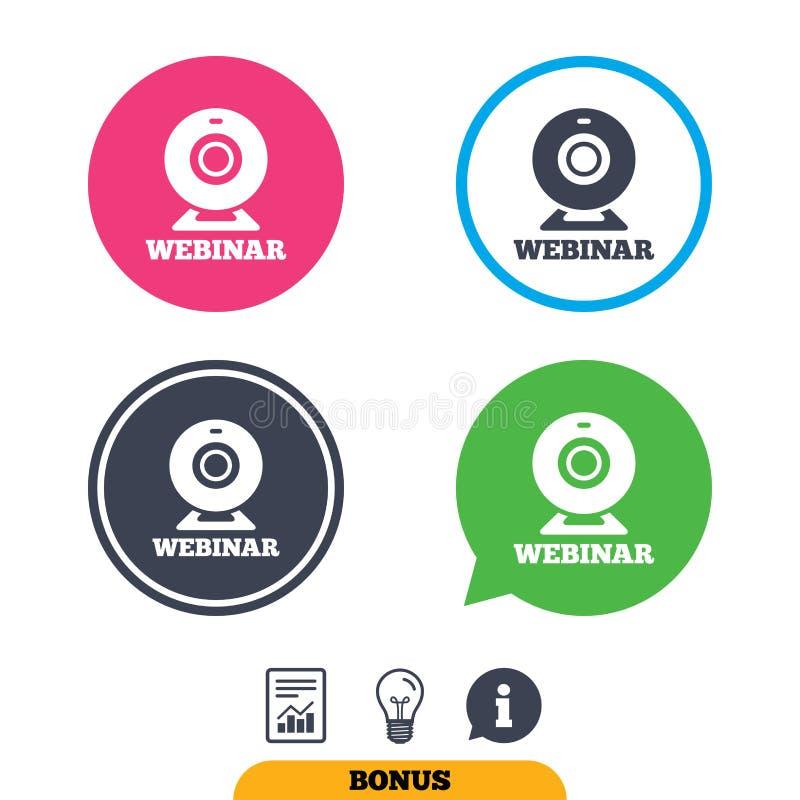 Symbol för tecken för Webinar rengöringsdukkamera Online-rengöringsdukstudie stock illustrationer