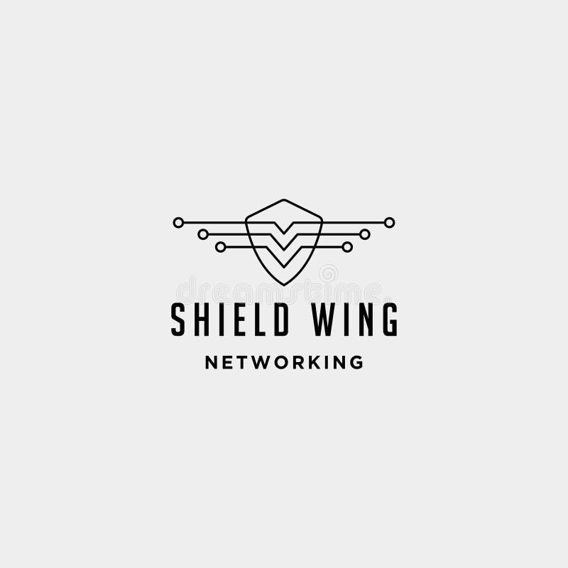 symbol för tecken för symbol för försvarare för internet för design för logo för sköldvingteknologi royaltyfri illustrationer