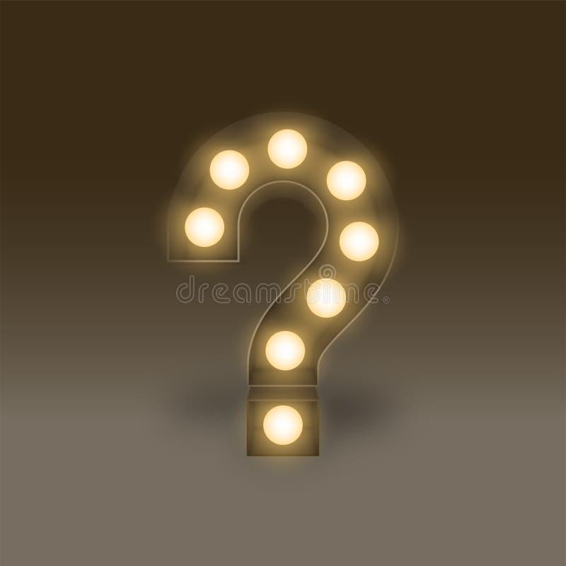Symbol för tecken för fläck för fråga för uppsättning för ask för ljus kula för symbol glödande, illustration retro 3D stock illustrationer