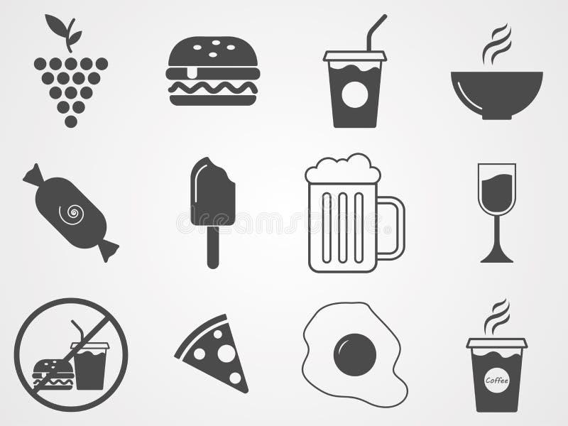 Symbol för tecken för foods- och drinkvektorsymbol stock illustrationer