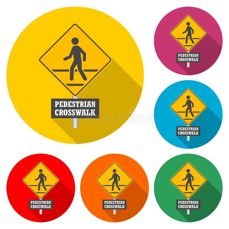 Symbol för tecken för fot- trafik eller logo, färguppsättning med lång skugga stock illustrationer