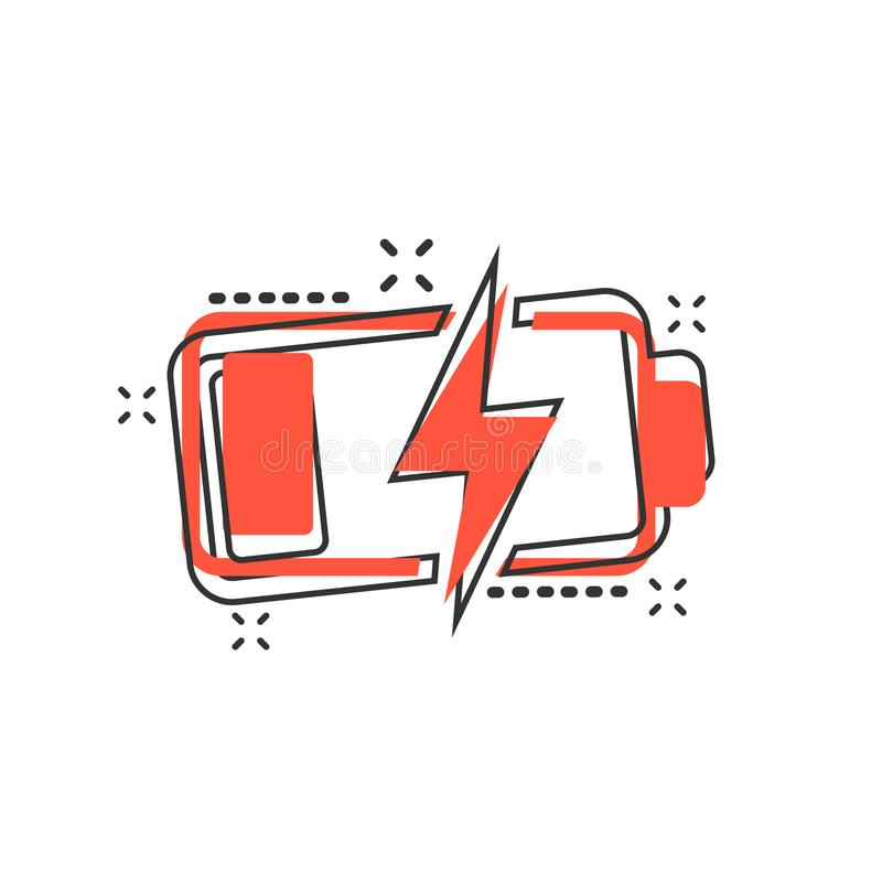 Symbol för tecken för jämn indikator för laddning för vektortecknad filmbatteri i komiker vektor illustrationer