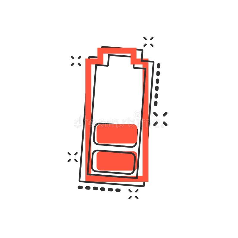 Symbol för tecken för jämn indikator för laddning för vektortecknad filmbatteri i komiker stock illustrationer
