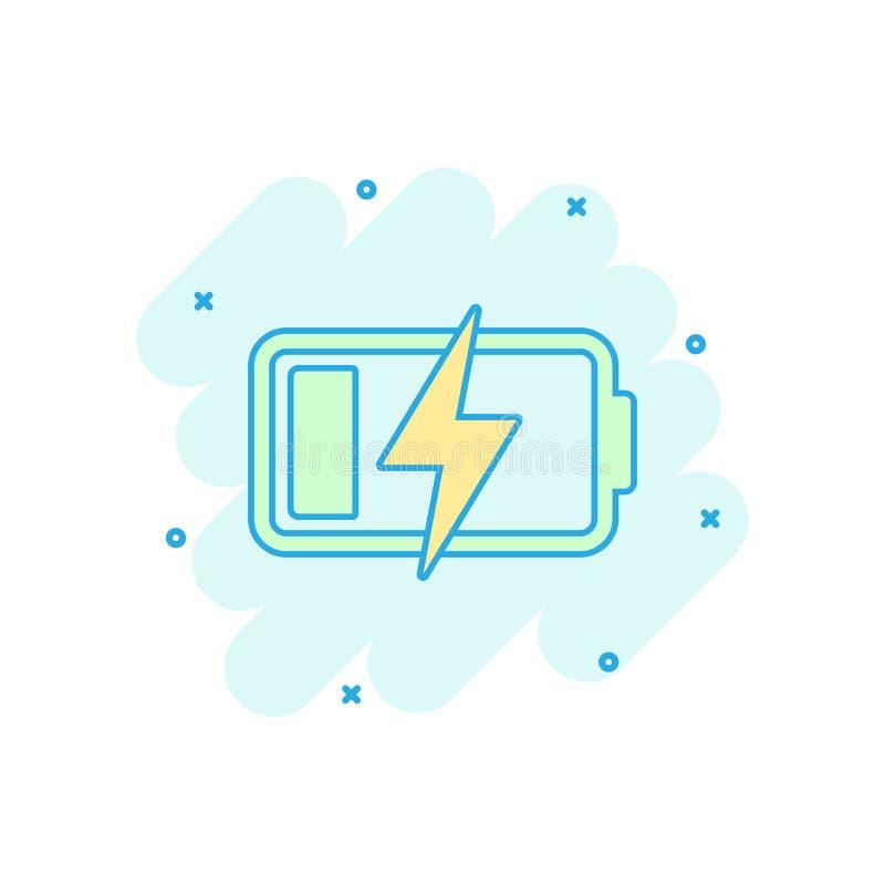Symbol för tecken för jämn indikator för laddning för vektortecknad filmbatteri i komiker royaltyfri illustrationer