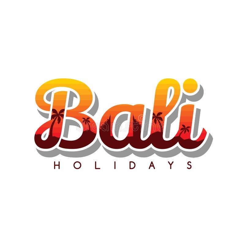 symbol för tecken för konst för tema för semester för bali strandindonesia ferie stock illustrationer