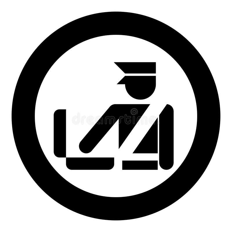 Symbol för tecken för kontroll för bagage för kontroll för bagage för bagage för kontroll för egen tjänsteman för grän royaltyfri illustrationer