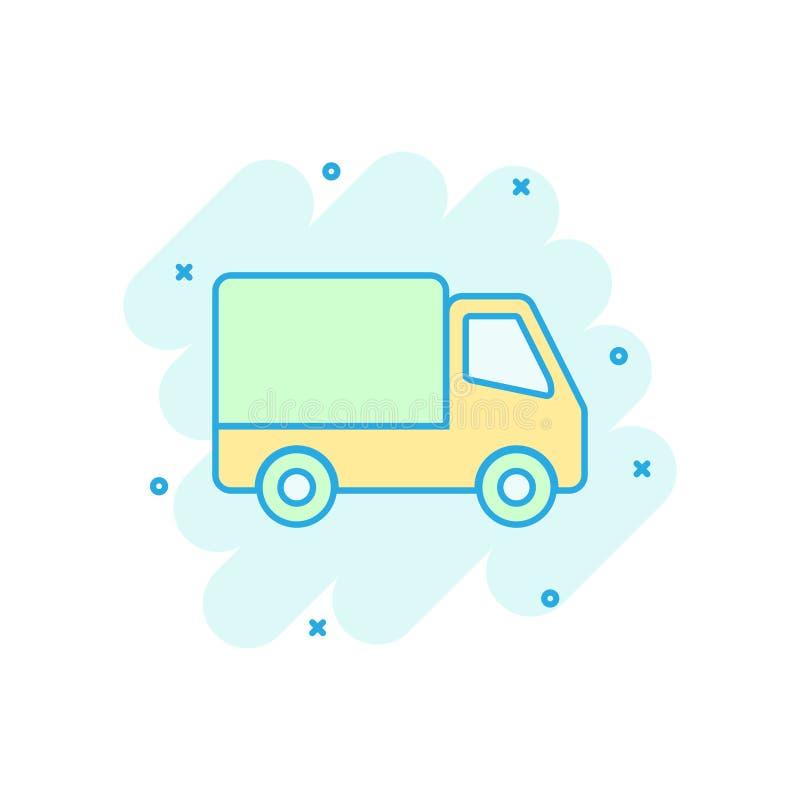 Symbol för tecken för leveranslastbil i komisk stil Skåpbil vektor tecknad filmillustration på vit isolerad bakgrund Lastbilaff?r stock illustrationer