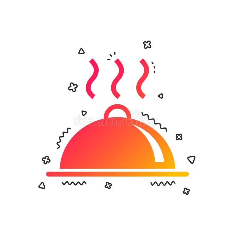 Symbol för tecken för matuppläggningsfatportion Table inställningen vektor royaltyfri illustrationer