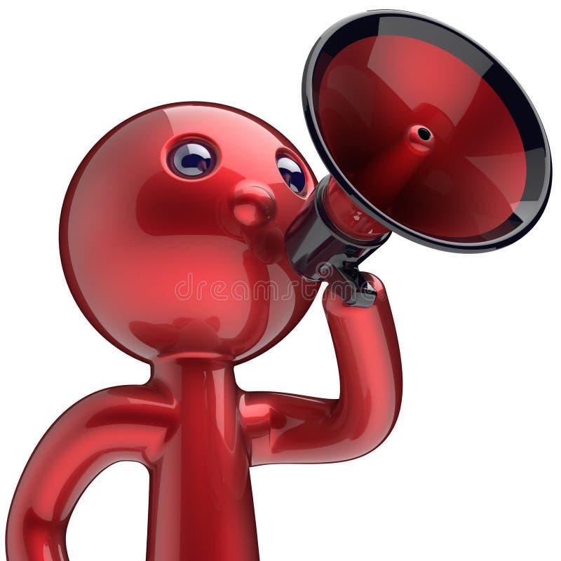 Symbol för tecken för megafon för mandanandemeddelande röd vektor illustrationer