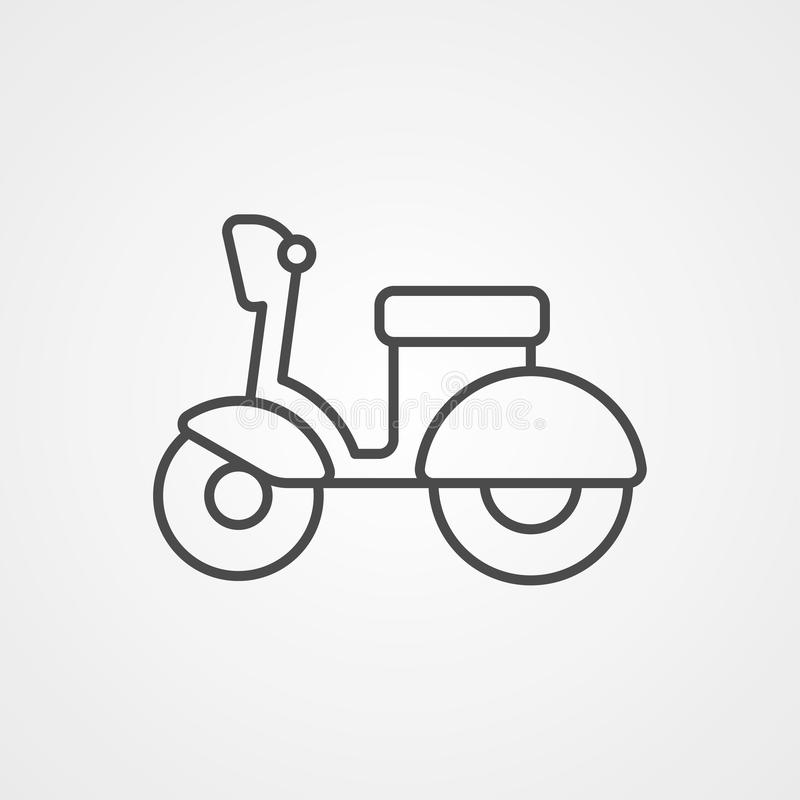 Symbol för tecken för sparkcykelvektorsymbol royaltyfri illustrationer