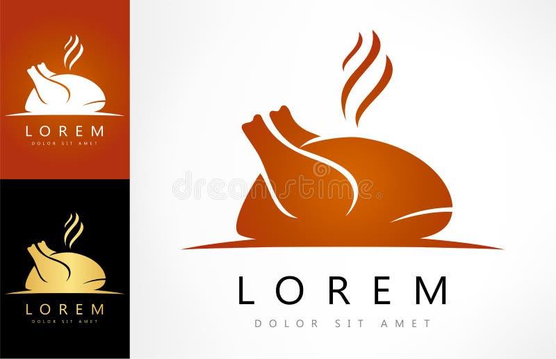 Symbol för tecken för stekhöna Logo för hönafågelkött royaltyfri illustrationer