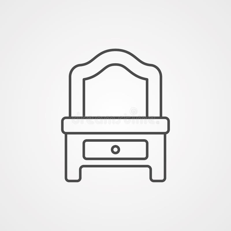 Symbol för tecken för symbol för vektor för dressingtabell vektor illustrationer