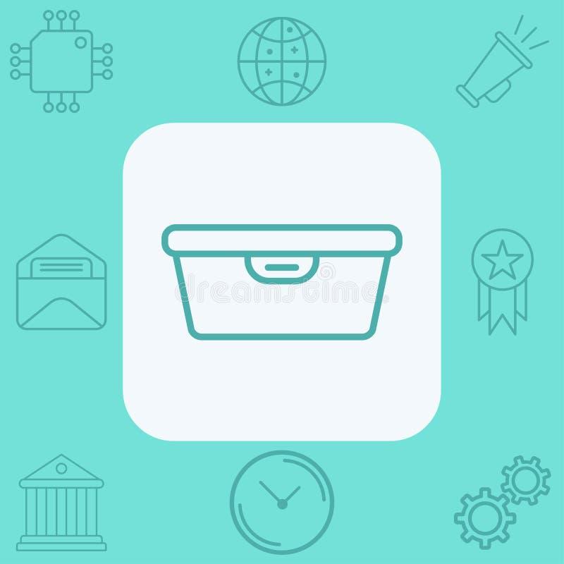 Symbol för tecken för symbol för vektor för matbehållare vektor illustrationer