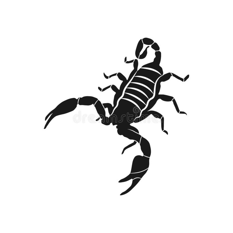 Symbol för tecken för vektor för skorpionsymbol illustration isolerat royaltyfri illustrationer