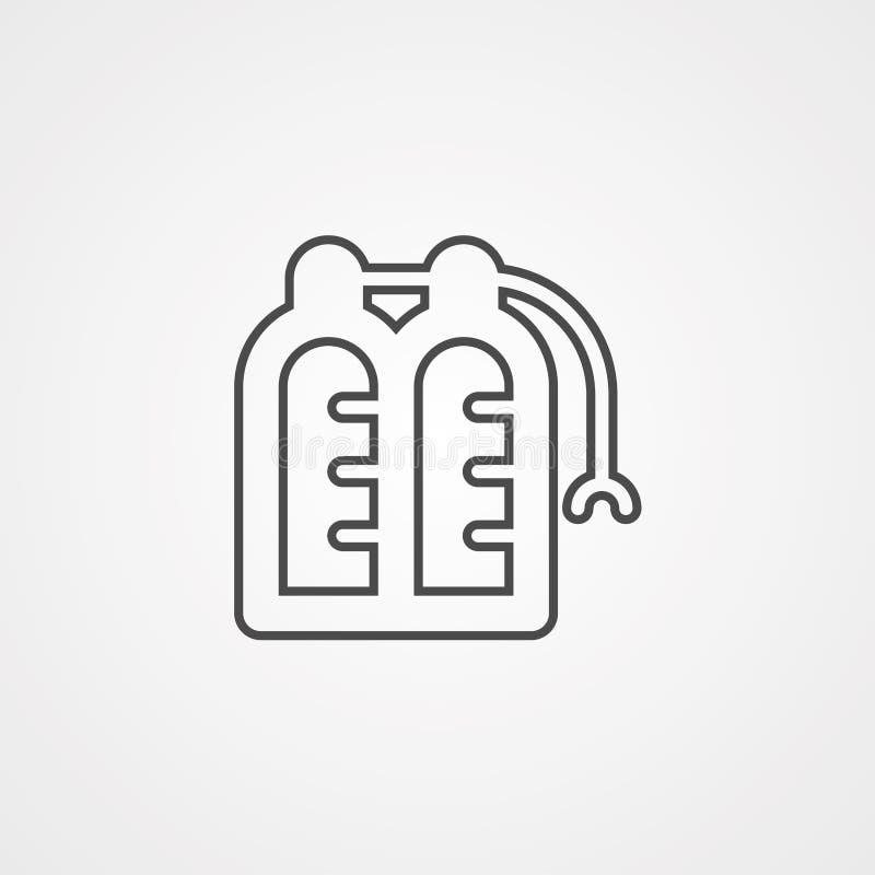 Symbol för tecken för symbol för vektor för syrebehållare vektor illustrationer