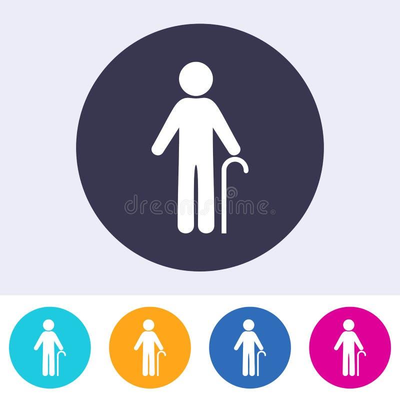 Symbol för tecken för vektorpensionärman vektor illustrationer