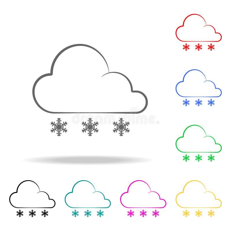symbol för teckenvädersnö Beståndsdelar av mång- kulöra symboler för väder Högvärdig kvalitets- symbol för grafisk design Enkel s vektor illustrationer