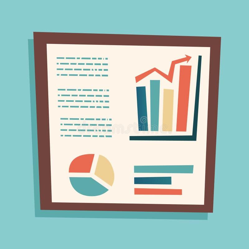 Symbol för tecknad film för affär för presentationsInfographics Retro tappning på stilfull illustration för bakgrundsdesignvektor vektor illustrationer