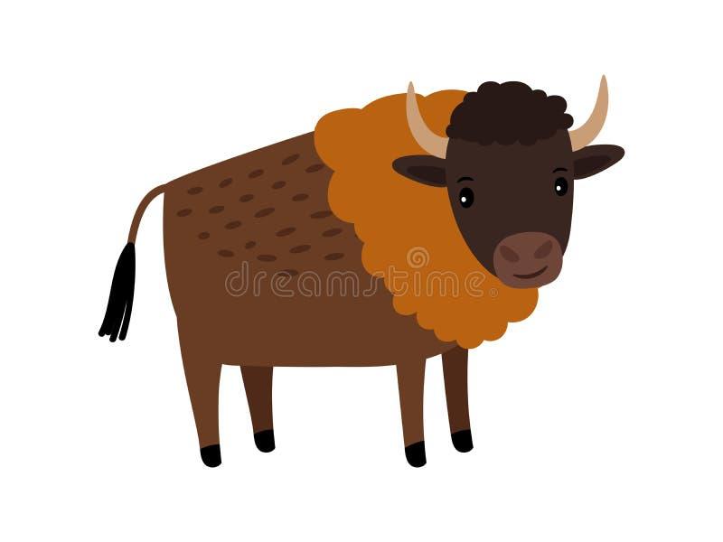 Symbol för tecknad film för löst djur för bison vektor illustrationer
