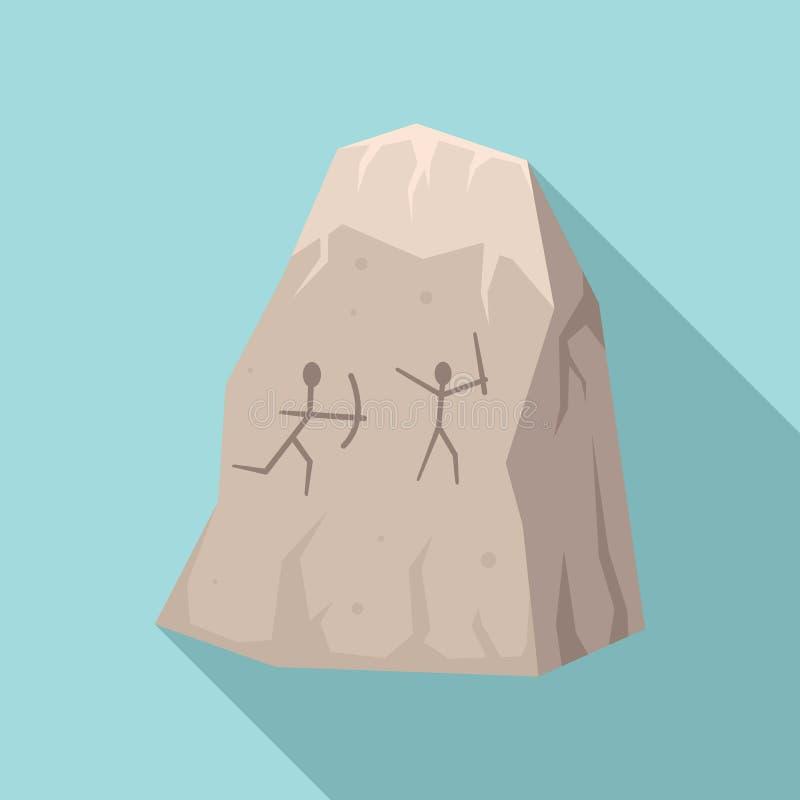 Symbol för teckningar för grotta för stenålder, plan stil royaltyfri illustrationer