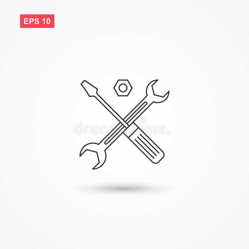 Symbol för teknisk service eller skruvmejselvektorsymbol 1 royaltyfri illustrationer