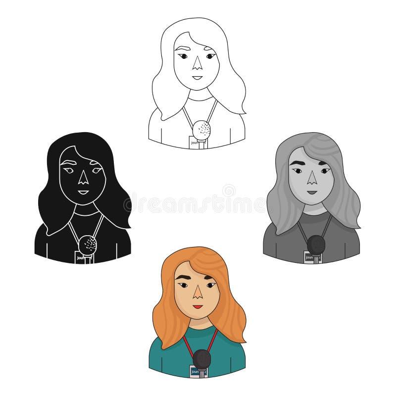 Symbol för televisionreporter i tecknade filmen, svart stil som isoleras på vit bakgrund Folk av det olika yrkesymbolet stock illustrationer